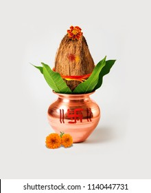 Copper Kalash with mango leaf and coconut