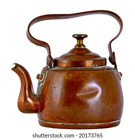 Copper kettle isolated on a whit background.