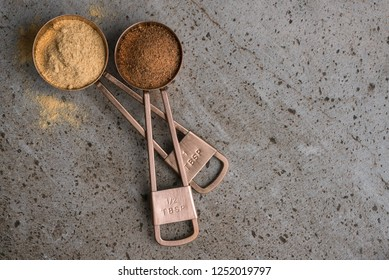Copper Measuring Spoons with Spices