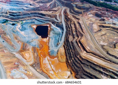 Copper mine open pit Atalaya Rio Tinto. Spain.