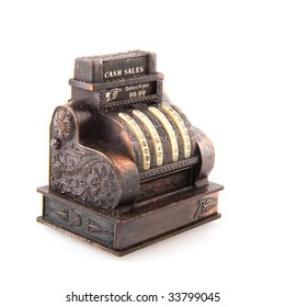 copper old cash register isolated over white