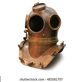 Copper old vintage deep sea diving suit