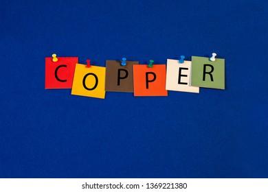 Copper - one of a complete periodic table series of element names - educational sign or design for teaching chemistry.