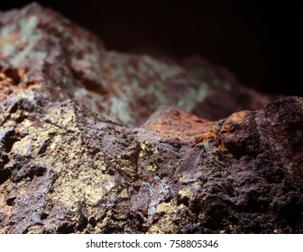 Copper ore with dark and black background