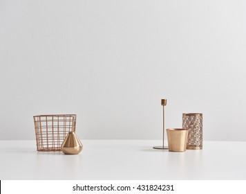copper pencil case candlestick accessories isolated