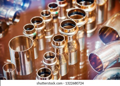 copper pipes and fittings for carrying out plumbing work. Plumbing, fixing pipes and fittings for connection of water or gas systems