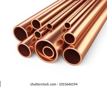 Copper pipes profile stack. 3d illustration isolated over white background.