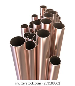 Copper pipes./Copper pipes on a white background.3d illustration