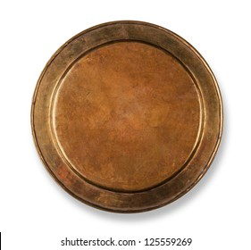 Copper plate on white with shadow