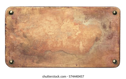 Copper plate with rounded corners and rivets. Old metal background.