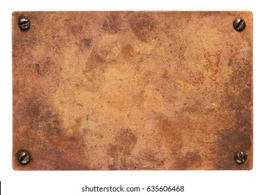 Copper plate with screws. Old metal background.