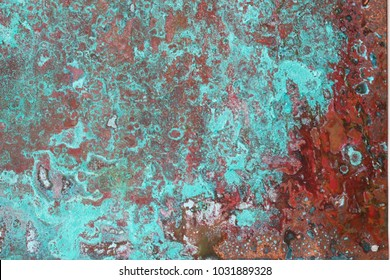 Copper plate texture with green and blue patina stains
