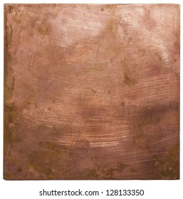 Copper plate texture, old metal background.