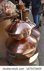 Copper pots and other wares in the medina of Fes, Morocco, Africa