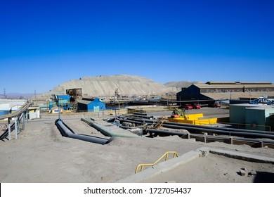 Copper processing plant near the Chuquicamata copper mine and Calama in the Atacama Desert, Chile