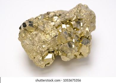 Copper pyrites stone on white background
