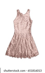copper sequin party dress, isolated on white background