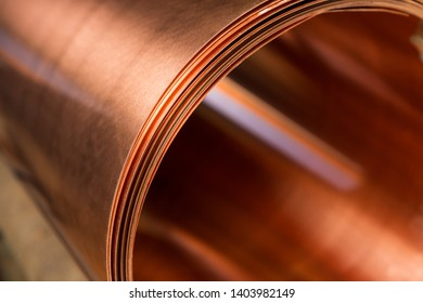 copper sheet is twisted into a large roll