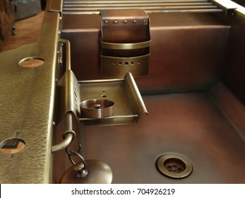 Copper sink plug, strainer and shelf