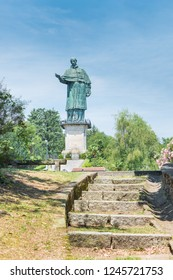 Copper statue, one of the tallest statues in the world. Arona, lake Maggiore, Italy. Sancarlone or Colossus of San Carlo Borromeo (17th century). Internally it is possible to climb up to the top
