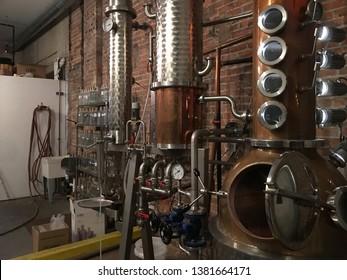Copper still for distilling alcohol