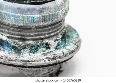 Copper sulfate Corrosion pipe, Navel basin part damaged by eroded by minerals in the water