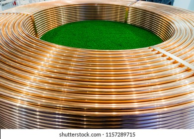 Copper trading tube coils at stock exchange