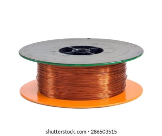 Copper wire spool isolated on a white background