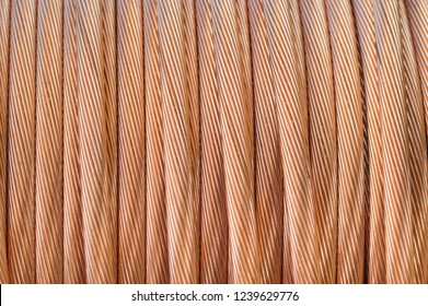 Copper wire,background of copper coil.Coil of metal wires.Roll of copper wire ground rod use for protection electric leakage in electrical work