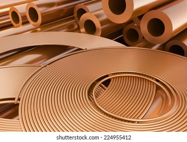 Copper wires and tubes close-up. 3d illustration