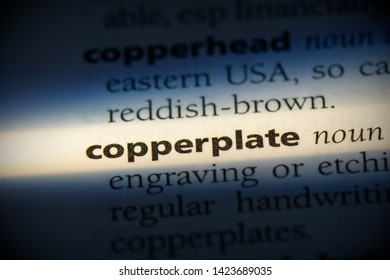 copperplate word in a dictionary. copperplate concept.