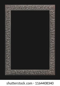 Coppery ornamental frame isolated on black background.