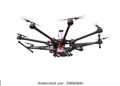 Copter closeup isolated on a white background. The aircraft with a raised chassis.