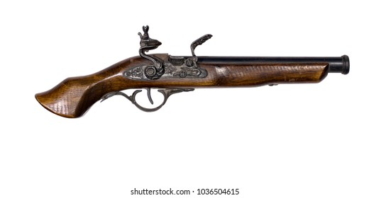 copy of an antique pistol with a flintlock, isolated