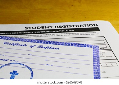 Copy of Baptismal Certificate mandatory to attend catholic schools.