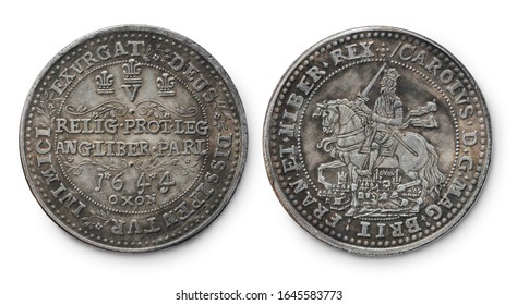 Copy of the British silver Oxford Rawlins Crown coin of the reign of Charles I minted in 1644, against a white background.