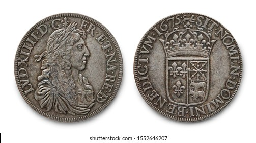 Copy of the French silver coin of Louis XIV known as Louis the Great (Louis le Grand) or the Sun King minted in 1675, against a white background.