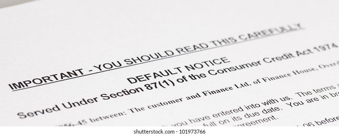 A copy of a letter stating a law, Default Notice, no genuine customer details used,