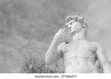a copy of Michelangelo's David - black and white