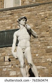 A copy of Michelangelo's David outside the Palazzo Vecchio, Florence, Italy, 22nd May 2016