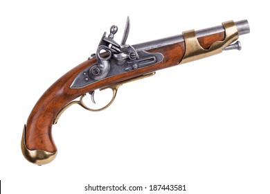 Copy of an old gun with wooden handle