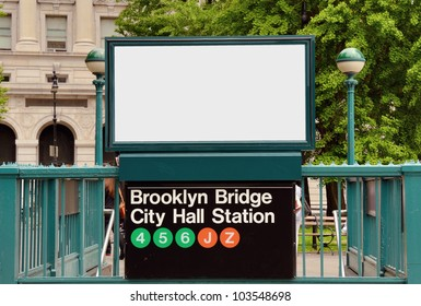 copy space above Brooklyn Bridge City Hall Station in New York City
