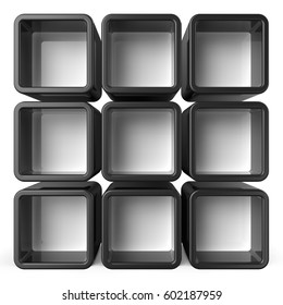 Copy space black and white shelf set 3D render illustration isolated on white background