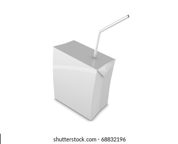 Copy space, Blank drink box with straw, isolated on white background.