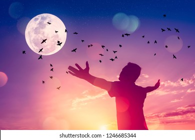Copy space man raise hand up on sunset sky and birds fly with full moon abstract background. Freedom travel adventure and business victory concept. Vintage tone filter effect color style.
