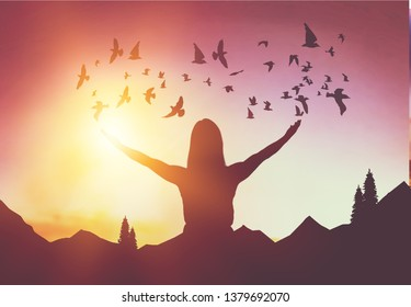 Copy space man raise hand up on top of mountain and sunset sky with birds fly abstract background. Freedom travel adventure and business victory concept. Vintage tone filter effect color style