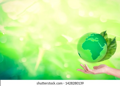 Copy space save world and save energy concept, Green planet on the leaf and business woman hand with Bokeh fresh plant background