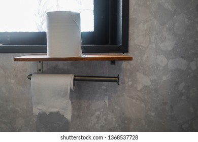 Copy space of toilet paper as emergency backup concept
