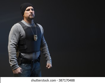 Copy Space of Undercover Law Enforcement Special Agent with weapon. He looks angry and is making a fist, ready to fight.