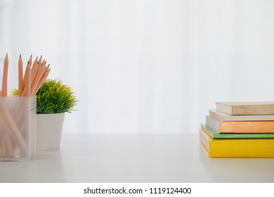 Copy space of working desktop and stationary. Education and working business concept background.